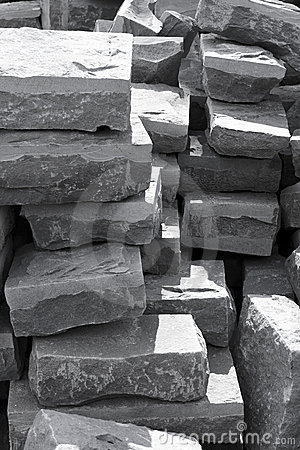 Black and white stone by stone masonry