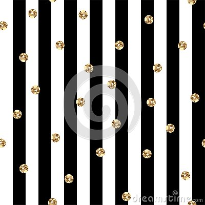 Black and White Stripes With Gold Polka Dots Seamless Pattern Vector Illustration