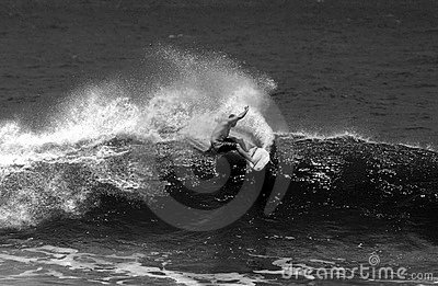 Black and White Surfing Surfer in Action
