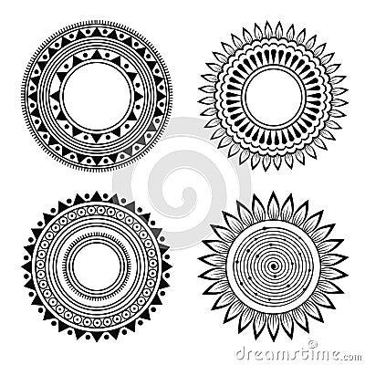 Black and white symmetric henna patterns
