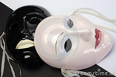 Black and white theme ceramic masks. Close up.