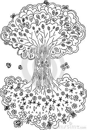 Black and white tree of life