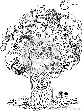 Black and white tree with owls Vector Illustration