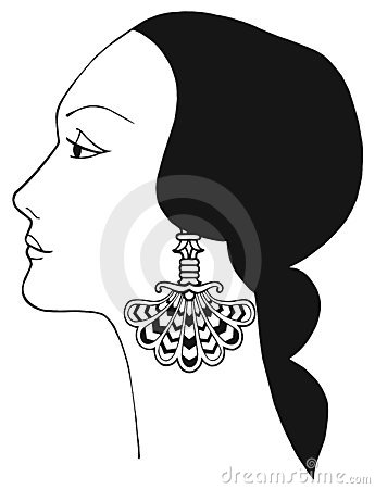 Black and white vector Art Nouveau Lady