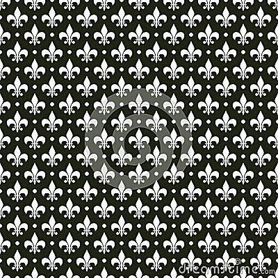 Black & white vector french fleur de lis pattern