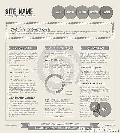 Black and white Vector Retro web page template