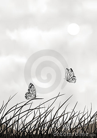 Black and white vector scenery with butterflies