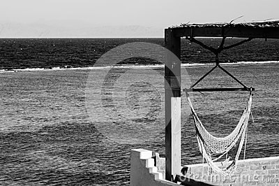 Black-and-white view of the sea