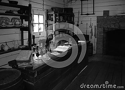 Black & white vintage general store