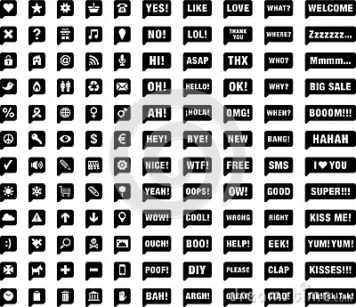 Black and white web icons and symbols