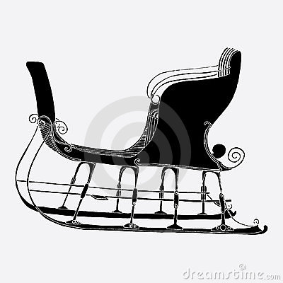 sled clipart black and white  Sled Clipart Black And