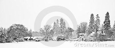 Black and white Winter snow farm landscape