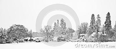 Black and white Winter snow farm landscape