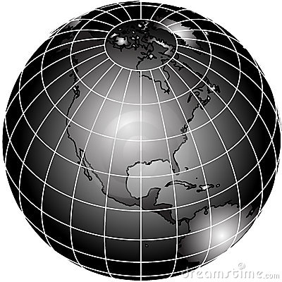 Black and white world globe