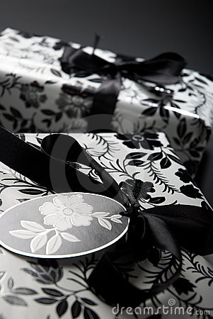 Black and white wrapped gifts
