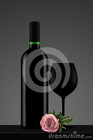 Black wine bottle with glass and pink rose