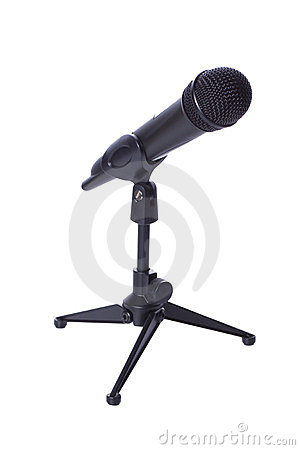 Black wireless mic on stand