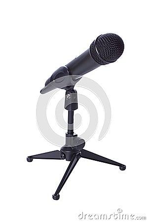 Black wireless mic on stand