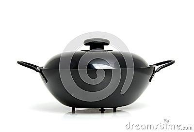 Black wok pan