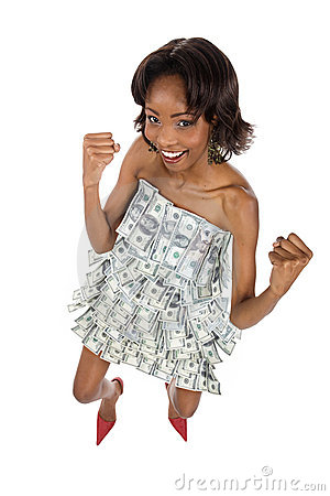 Black woman covered in dollars