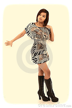 Black Woman Dress and Knee High Boots