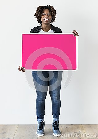 Free Black Woman Holding Blank Board Royalty Free Stock Photography - 117182497