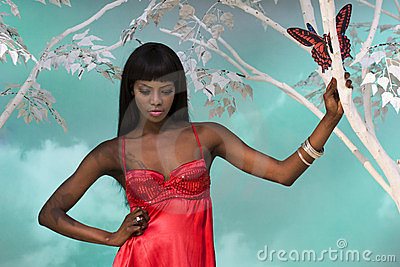 Black Woman Looking Down Editorial Photo