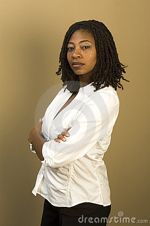 Black woman in office