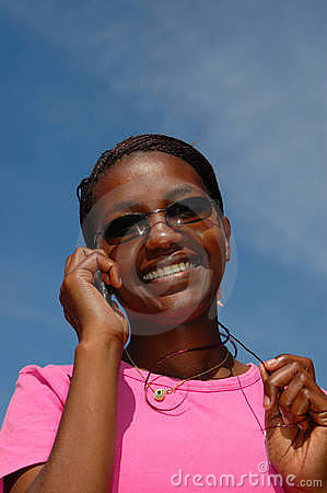 Black woman on phone