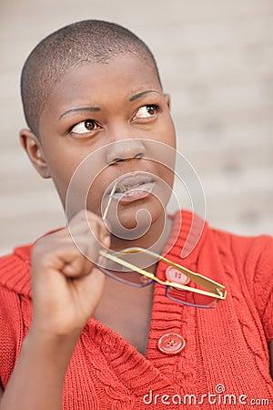 Black woman pondering