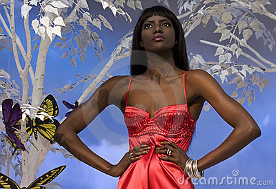Black Woman In Red Editorial Stock Photo