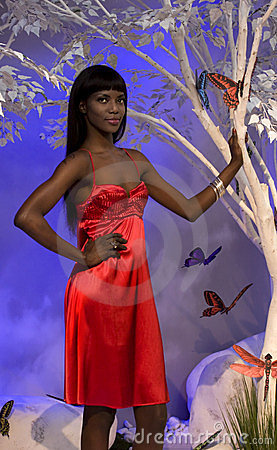 Black Woman In Red Editorial Image