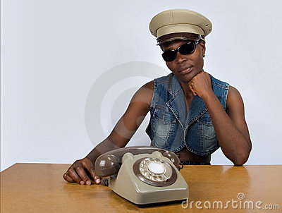 Black woman with retro phone