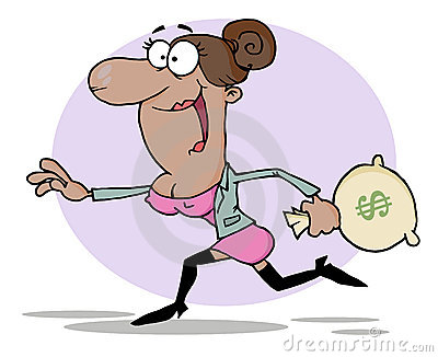 Black woman running with a money bag