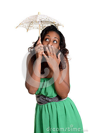 Black woman with tiny umbrella humor