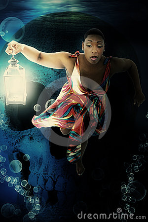 Black Woman Underwater Dress Fantasy