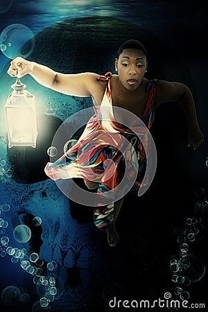 Black Woman Underwater Dress Fantasy