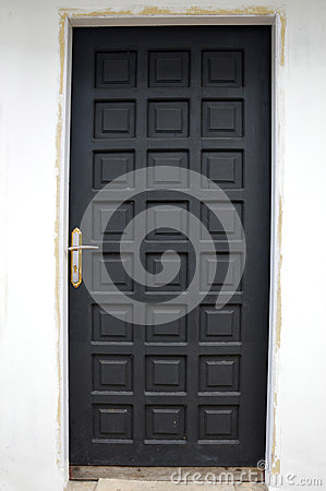 Black wooden doors