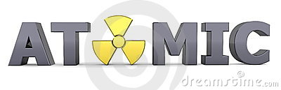 Black Word Atomic - Yellow Nuclear Symbol