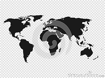 Black World map silhouette on transparent background. Vector illustration Vector Illustration