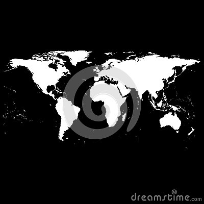 Black World Map Vector Vector Illustration
