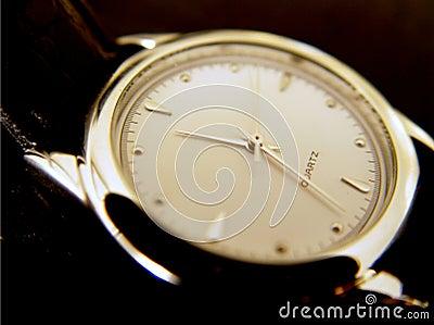 Black Wrist Watch, Gold Face