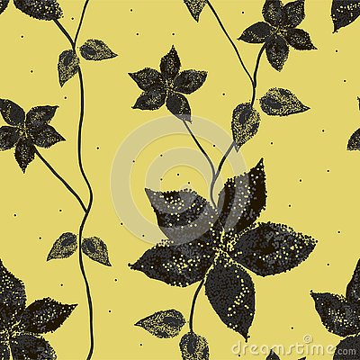 Silhouette of flowers with leaves on golden background. Vector Illustration