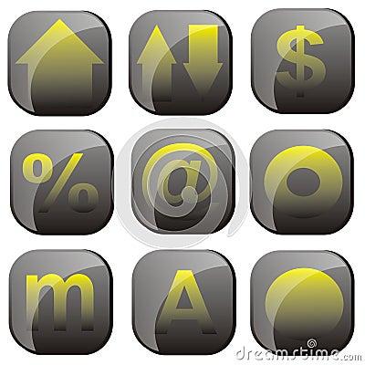 Black yellow icon set