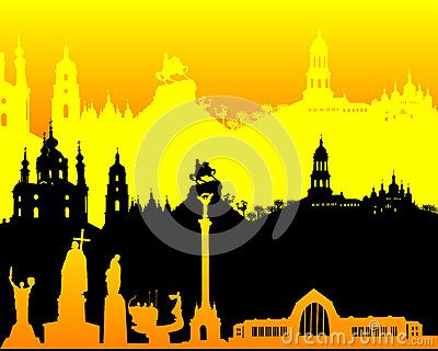 Black yellow orange silhouette of Kiev