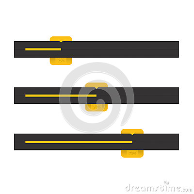 Black And Yellow Vector Progress Bars