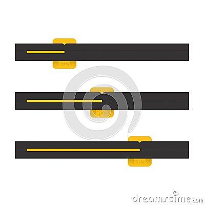 Black And Yellow Vector Progress Bars