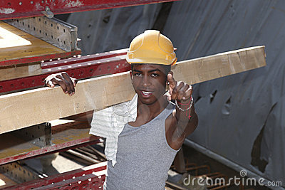 Black young worker