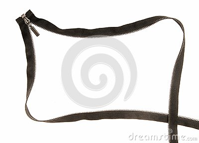 Black zipper. Creative frame.
