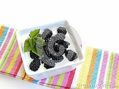 Blackberries on yogurt